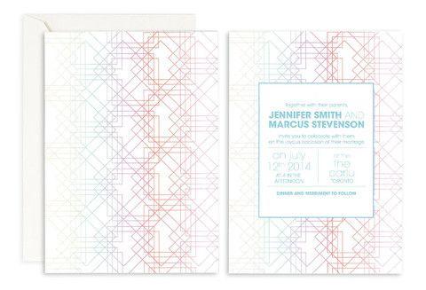 Pastel Maze Wedding Invitation– Jo's Paperie #wedding #invitations #geometric #template