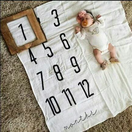 Cute baby growth picture idea. Then the baby can keep the blanket later!
