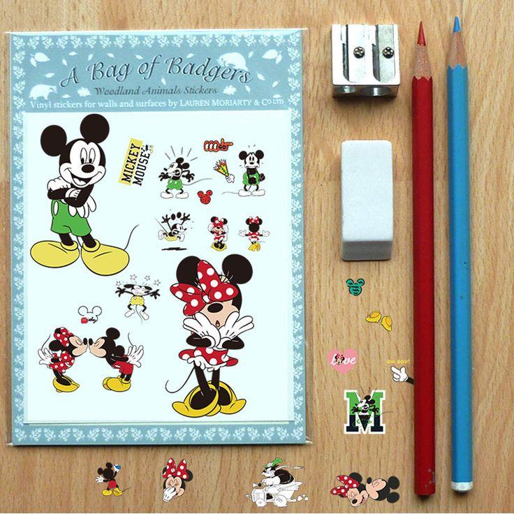 popular amusement park Cartoon Mickey Minnie Mouse kids room home decals Diy computer kitchen cup refrigerator decorative poster