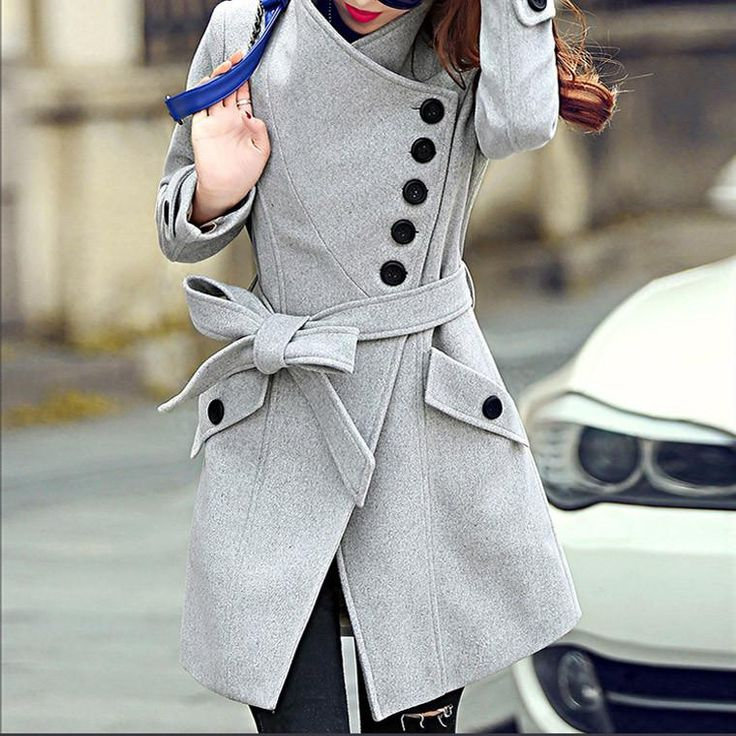 Women Trench TANGNEST Coat Sigle Breasted Belt Coats WWN865