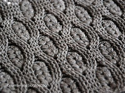 Wheat ear crochet: Puff stitch and crochet cables