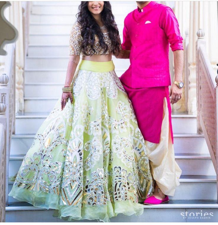Abu jani Sandeep Khosla # pastel bride # summer bride # hand crafted # Indian bride and groom#
