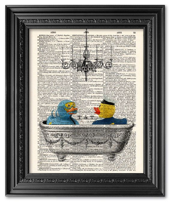 Bathtime rubber duck print Dictionary art print Vintage