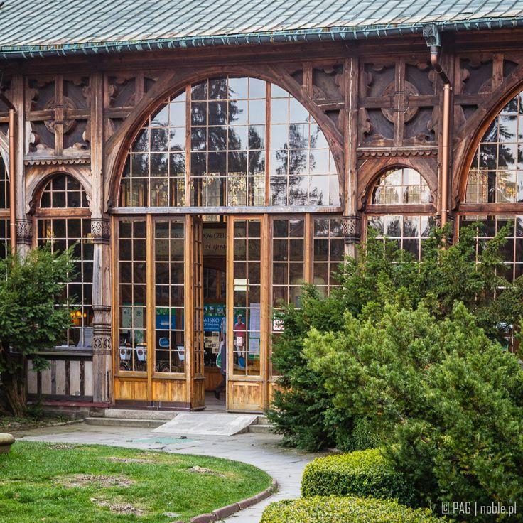 Wooden entrance to the spa house (Kurhaus) in Swieradow-Zdroj (Bad Flinsberg), Poland