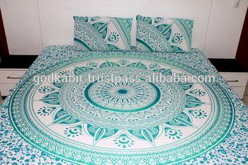 Beautiful romantic bed sheet , mandala hand block printed Tapestry beautiful designer Cotton bed sheets