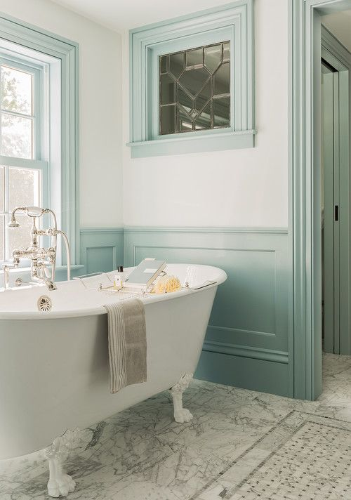 Claw Foot Tub in Colonial Farmhouse Bathroom                                                                                                                                                                                 More