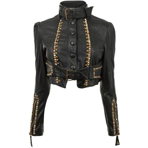 TEMPERLEY LONDON Studded Leather Jacket - Faulty ($395) ❤ liked on Polyvore