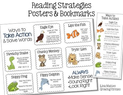 Freebie Reading Strategy Posters & Bookmarks