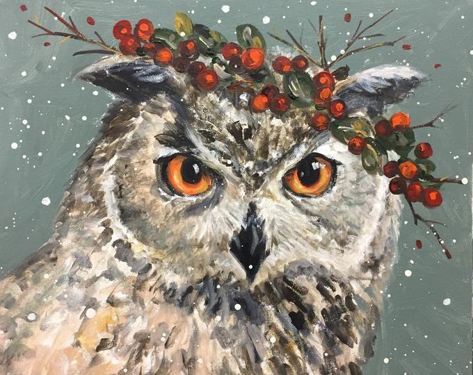Christmas Romance Etsy Christmas Paintings Bird Art Christmas Art