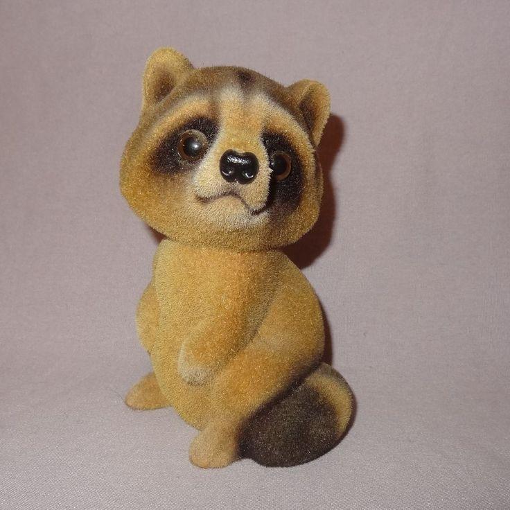 "Vintage Raccoon Piggy Penny Bank Velvet Covered Japan 4"" Animal Woods"
