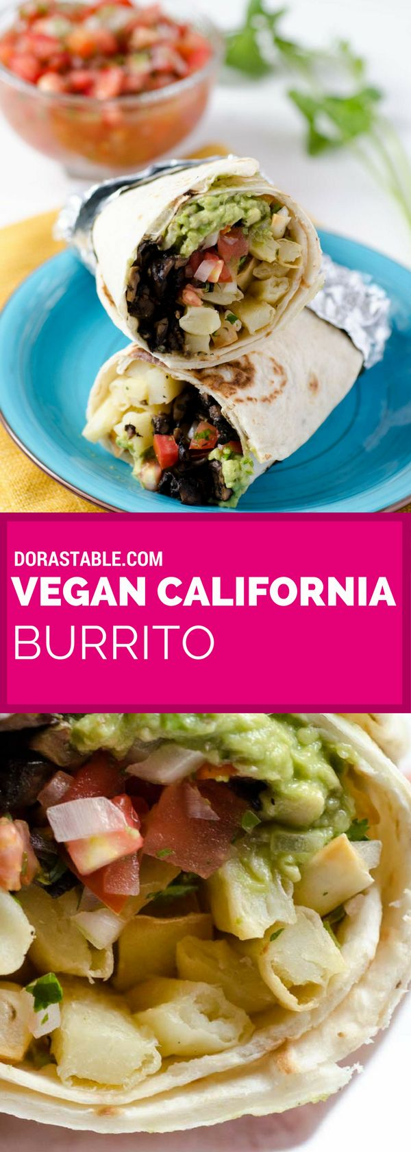 This vegan California burrito is stuffed with oven baked french fries, pico de gallo, portobello asada, spicy salsa, vegan cheese, and guacamole. It is the perfect meal after a long day surfing on a sunny beach. veganmexican | healthy | easy | vegandinner
