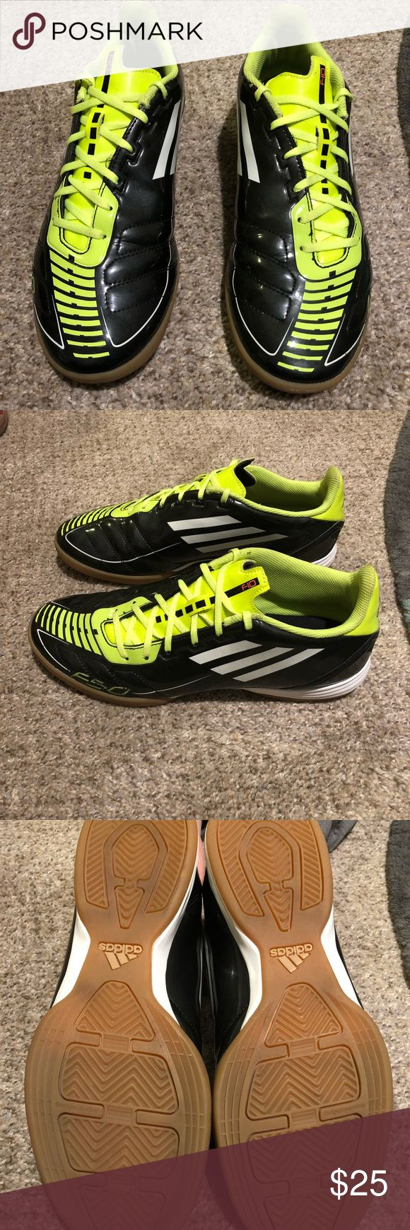Black and neon green adidas indoor soccer shoes Slightly used great condition indoor soccer shoes adidas Shoes Athletic Shoes