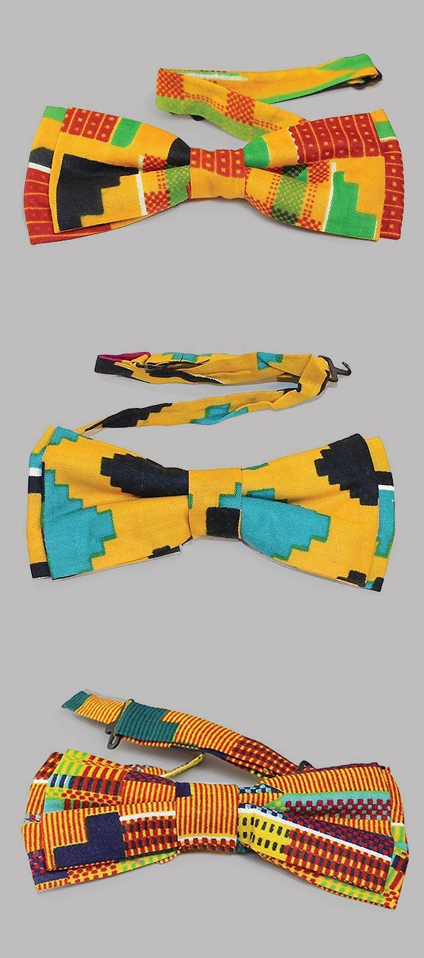 African Kente Cloth Bow Ties – These bright and bold African style bow ties are …
