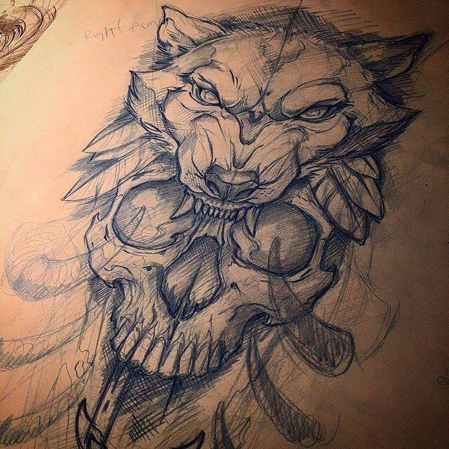 Fantastische Totenkopf- und Wolfskizze von Mihai, der immer ein fantastisches Tattoo hat