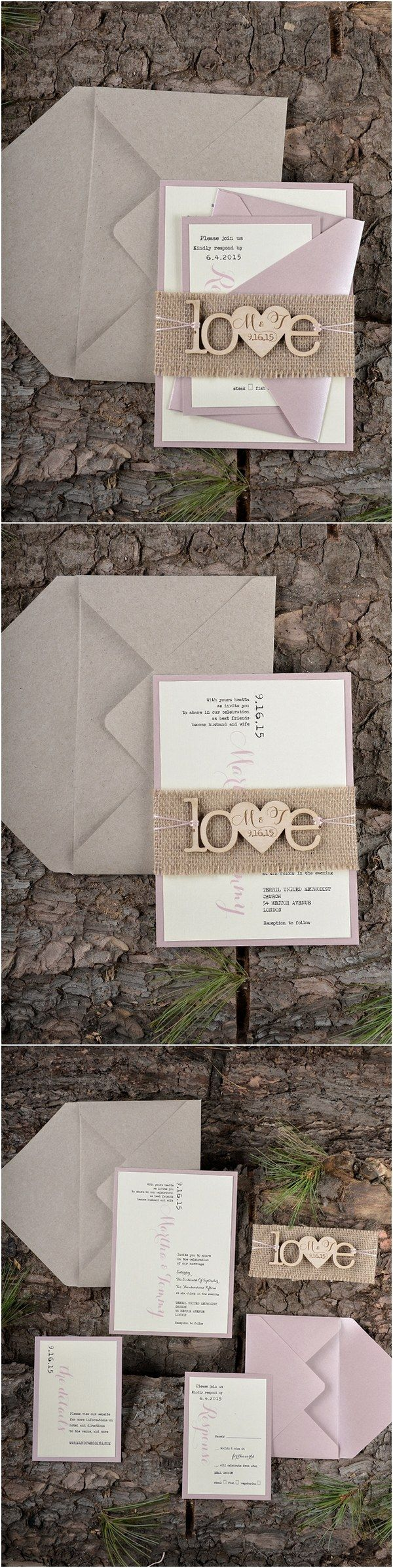 champagne blush wedding invitations%0A Rustic country burlap pink wedding invitations   LOVEPolkaDots