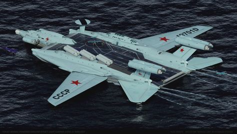 "concept ships: Soviet Atomic Powered Ground-effect Light Carrier 19701 ""SMELOST"" by Alex Brady"