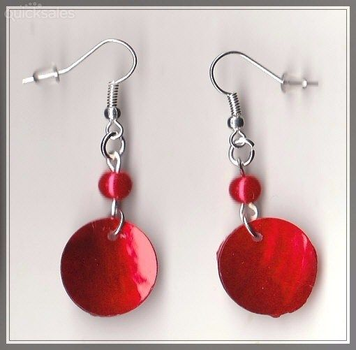 Red Mop Shell/Faux Pearl Bead Silver Plated Earrings  by MadAboutIncense - $9.50