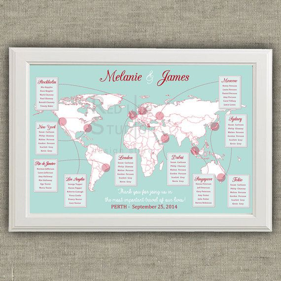 Travel Theme Wedding Seating Chart World Map by redlinecs