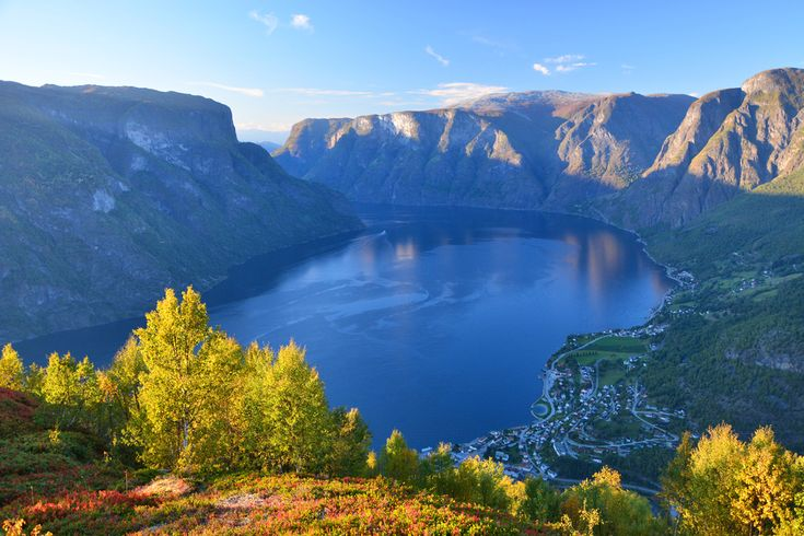 Aurland town from Hovdungo, 780m above the fjord