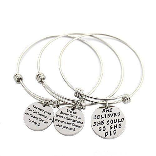 L.Beautiful Women Girls Graduation Gift Engraved Message Motivational Charm Bracelets Set Expandable Silver Plated Inspirational Bangle Bracelet with Gift Box(3pcs)