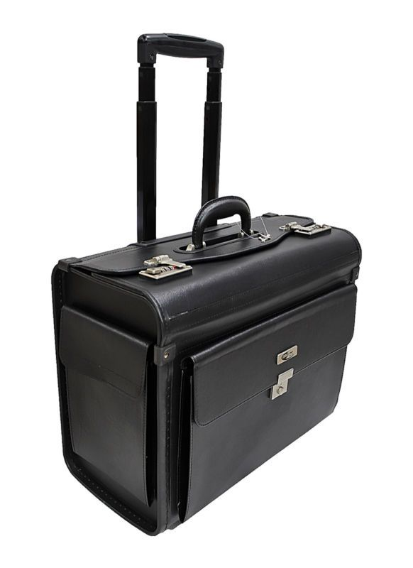 FAUX LEATHER LAPTOP TROLLEY WHEELED BRIEFCASE HAND LUGGAGE PILOT CASE BAG | eBay