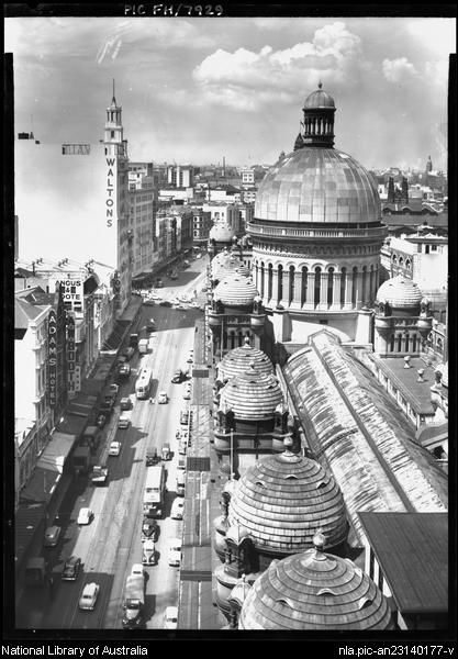 George Street 1940's (looking down onto the Queen Victoria Building,Sydney).Photo from National Library of Australia.