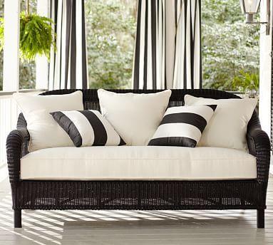 Palmetto All-Weather Wicker Sofa - Black #potterybarn