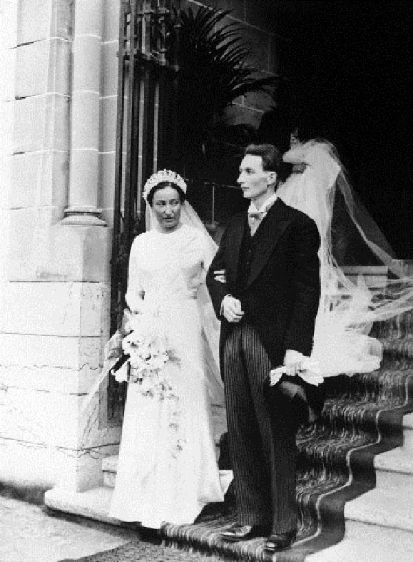 Princess Marie Dolores de Bourbon-Orleans, niece of ex-king Alfonso of Spain, was married to Prince August Czartoryski of Poland. The couple leaving the Catholic Church after their wedding in Lausanne, on 16 Aug 1937