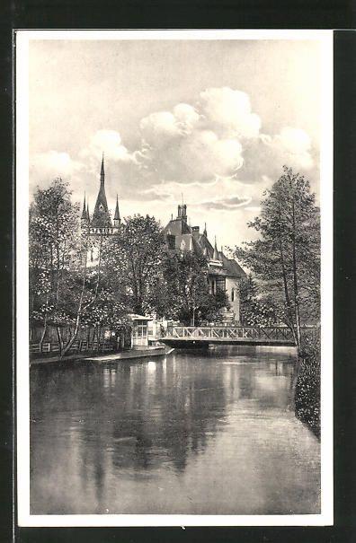 old postcard: AK Kosice, Hernad mit Jakab Palais