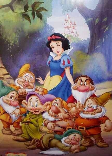 Snow White and seven dwarves cartoon illustration via www.Facebook.com/DisneylandForMisfits