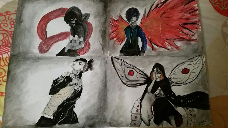 Tokyo Ghoul characters 😍😍 It was easier than I tought to work with watercolors😂