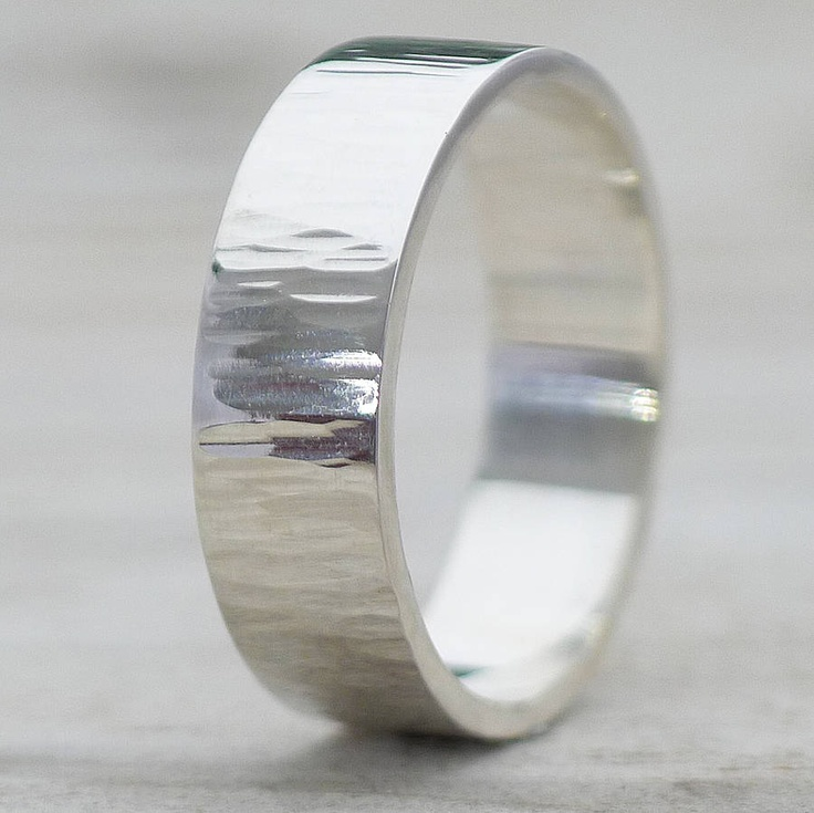 Hammered Silver Ring With Tree-Bark Finish by Lilia Nash Jewellery - £99