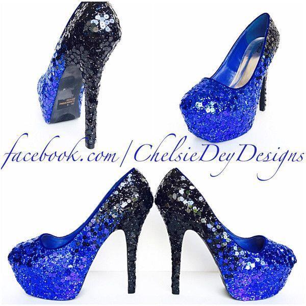 Sequin Glitter High Heels Ombre Pumps Platform Shoes Royal Blue Black... ($120) ❤ liked on Polyvore featuring shoes, pumps, heels, silver, women's shoes, platform pumps, silver platform pumps, black pumps, black bow pumps and silver pumps #promheelssilver #platformpumpsglitter