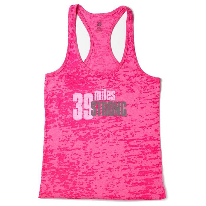 Walking 2 days and 39 miles is a challenge. Show that you're 39 miles strong in this feminine fit, racerback style, pink burnout fabric tank. Grey AVON 39 detail on the back. Net proceeds go to the Avon Breast Cancer Crusade. Regularly $30.00.  Buy online at snalley.avonrepresentative.com