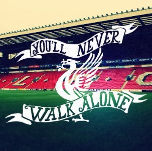 Liverpool FC Handlettering You'll Never Walk Alone - Soccer
