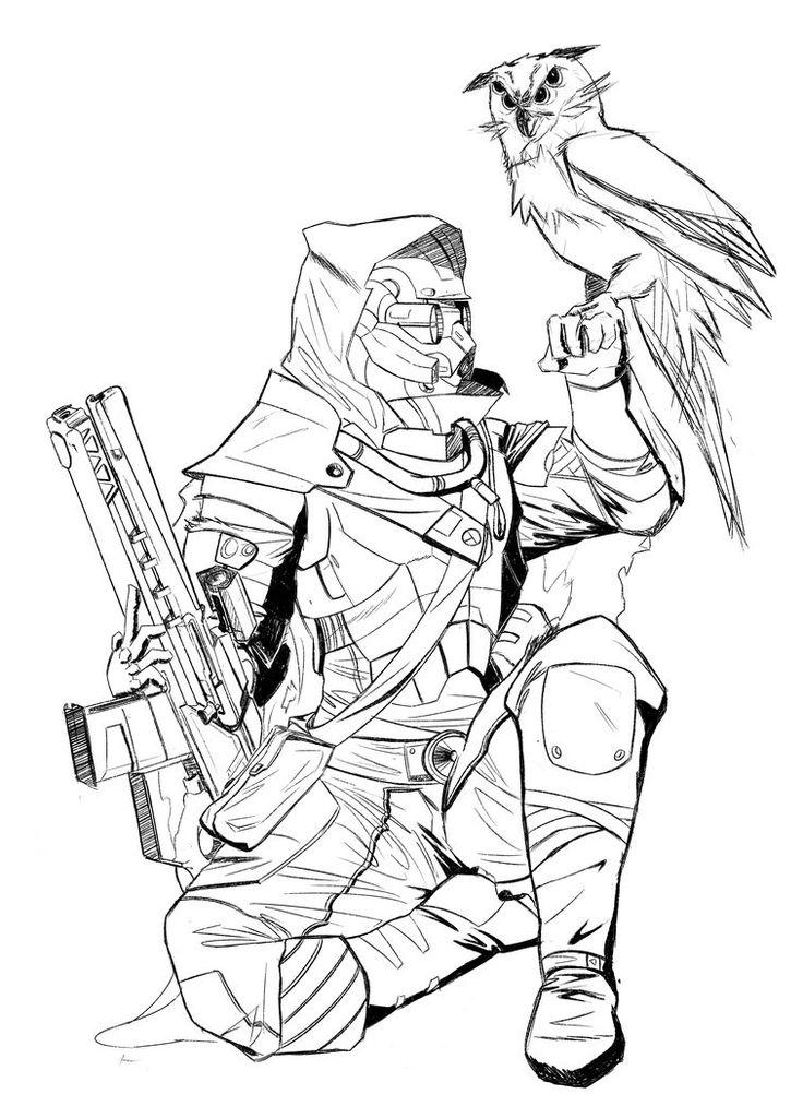 destiny 2 coloring pages | The Hunter | Destiny hunter, Destiny game, Destiny bungie