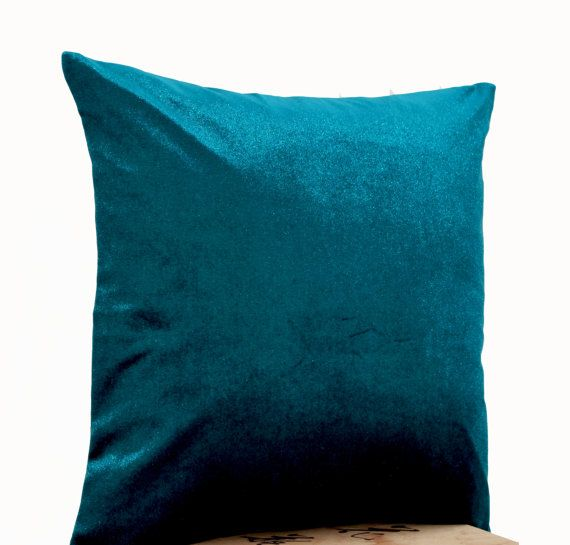Lush teal velvet oatmeal linen pillow Teal pillow by AmoreBeaute