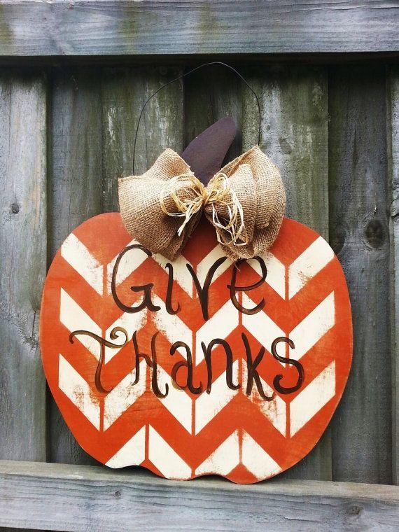 Wooden Pumpkin Doorhanger by CurlyQsCreation on Etsy