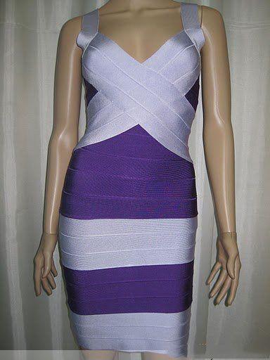 The purple and white horizontal stripes bandage dress