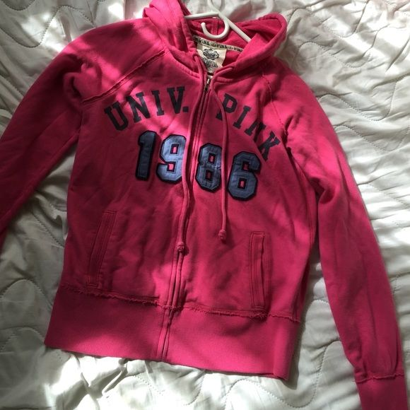 PINK zip up hoodie Hot pink, with blue grey. Zip up hoodie. Nothing on the back. PINK Victoria's Secret Other