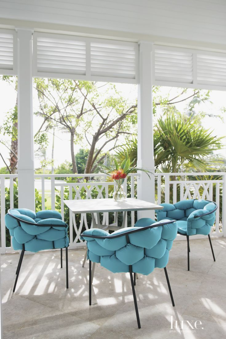 Island dining chair by ligne roset modern dining chairs los angeles - Eclectic Bobbly Upholstered Turquoise Porch Chairs In White Lanai With