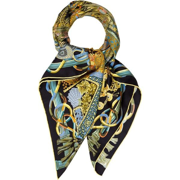 Pre-owned Herm?s Au Fil Du Carre Silk Scarf ($325) ❤ liked on Polyvore featuring accessories, scarves, yellow, yellow silk scarves, hermes shawl, yellow scarves, colorful scarves and yellow shawl