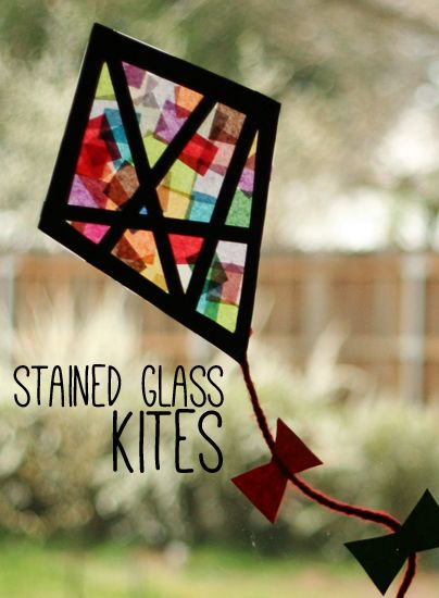 Colorful Stained Glass Kites - Spring is almost here!  What a great way to welcome the season and dress up your windows.  I love this no-mess craft!