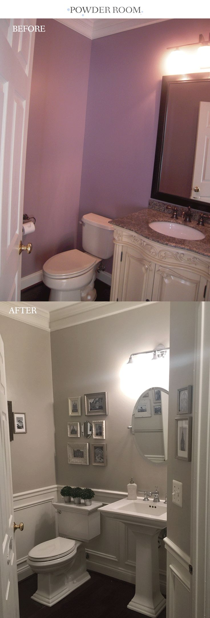 Powder room before and after wainscoting and makeover. The gray paint is Benjamin Moore Revere Pewter.