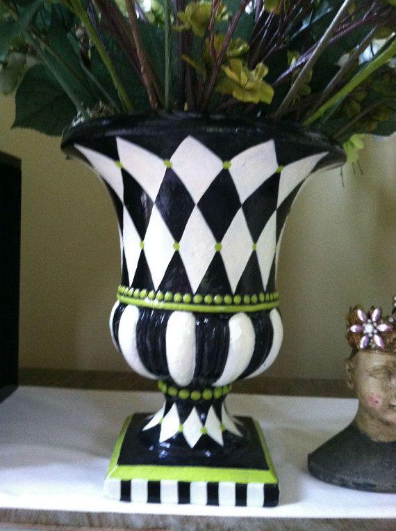 Whimisical Planter Black White Harlequin Diamond Urn Large