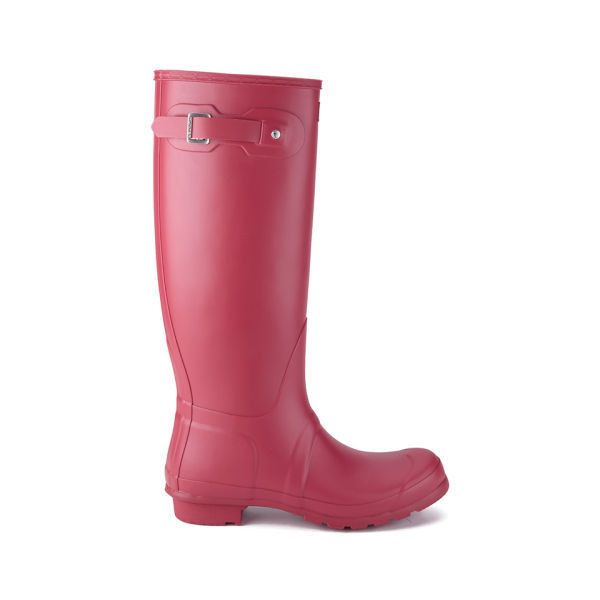 Hunter Women's Original Tall Wellies - Raspberry ($70) ❤ liked on Polyvore featuring red