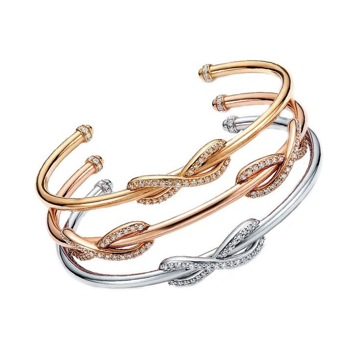 Stacking Trend ~ Tiffany Infinity stacking bracelets in white, yellow and rose gold with diamonds by Tiffany & Co.