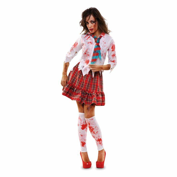 Espeluznante disfraz de colegiala muerta viviente. Este año 2014 incorporamos a nuestra extensa colección de disfraces para Halloween toda una serie de modelos zombies. Modelos de siempre con terroríficos efectos provocados por la sangre roja que los convierten en cadáveres vivientes. #disfraces #halloween