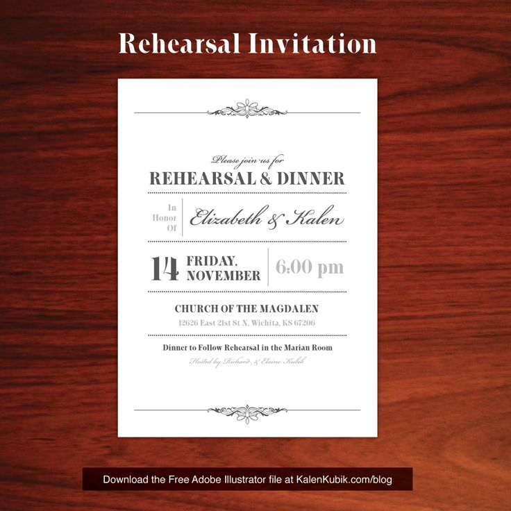 Free DIY Wedding Rehearsal Dinner Invite AI Template. I'm a professional graphic designer and I made my wife a bunch of custom stuff. Well, you can have it. You can download all of my live wedding files at http://www.kalenkubik.com/blog/free-wedding-program-template-and-more/  My blog post also provides tips on cutting costs during printing.