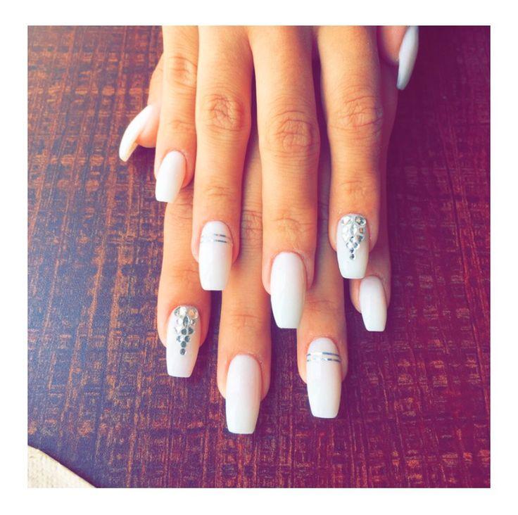 White coffin shaped nails, rhinestones bling classy ...